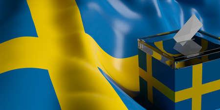 Glass ballot box on Sweden flag background, 3d illustration