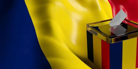 Glass ballot box on Chad flag background, 3d illustration Stock Photo