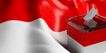 Glass ballot box on Indonesia flag background, 3d illustration