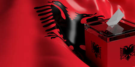 Glass ballot box on Albania flag background, 3d illustration