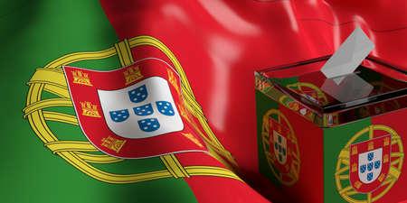 Glass ballot box on Portugal flag background, 3d illustration