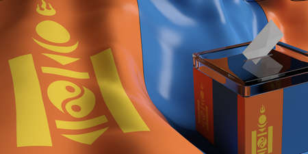 Glass ballot box on Mongolia flag background, 3d illustration