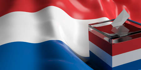 Glass ballot box on Netherlands flag background, 3d illustration