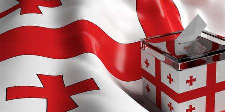 Glass ballot box on Georgia flag background, 3d illustration