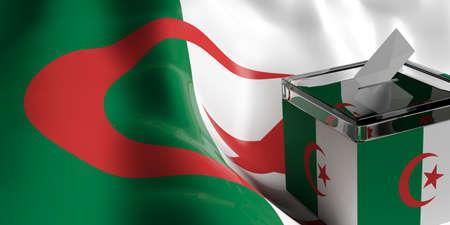 Glass ballot box on Algeria flag background, 3d illustration
