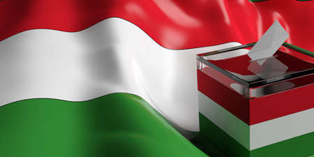 parliament: Glass ballot box on Hungary flag background, 3d illustration