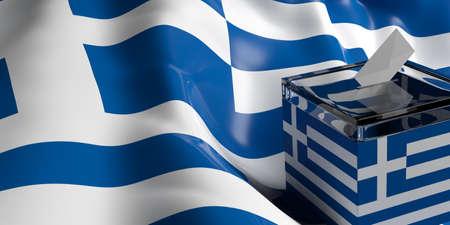 Glass ballot box on Greece flag background, 3d illustration Stock Photo