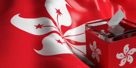 Glass ballot box on Hong Kong flag background, 3d illustration