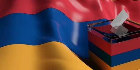 suggestion: Glass ballot box on Armenia flag background, 3d illustration