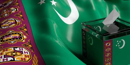 Glass ballot box on Turkmenistan flag background, 3d illustration