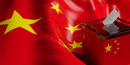 Glass ballot box on China flag background, 3d illustration Stock Photo