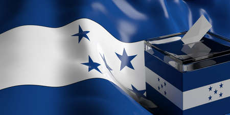 congress: Glass ballot box on Honduras flag background, 3d illustration