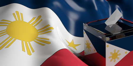 Glass ballot box on Philippines flag background, 3d illustration Stock Photo