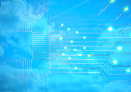 Abstrait bleu de circuit électronique. Illustration 3d