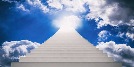 Stairway going up to blue sky. 3d illustration Stock Photo