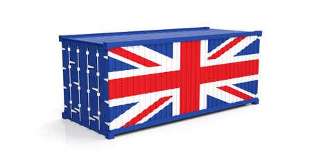 UK flag on container on white background. 3d illustration