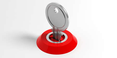 Key and red lock on white background. 3d illustration