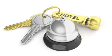 Hotel bell and keys isolated on white background. 3d illustration