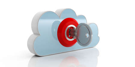 Key and red lock on a cloud on white background. 3d illustration