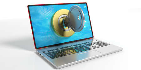 Key and lock on a laptop on white background. 3d illustration
