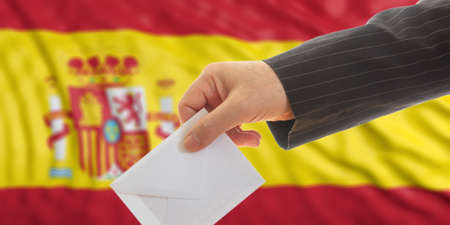 Voter on waiving Spain flag background. 3d illustration Stock Photo