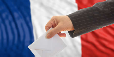 Voter on waiving France flag background. 3d illustration