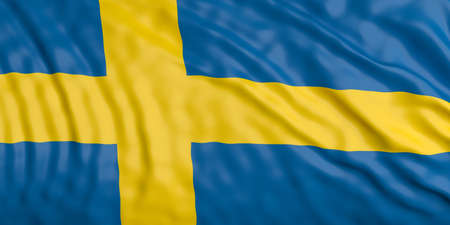 bandera de suecia: Waiving in the wind flag of Sweden. 3d illustration
