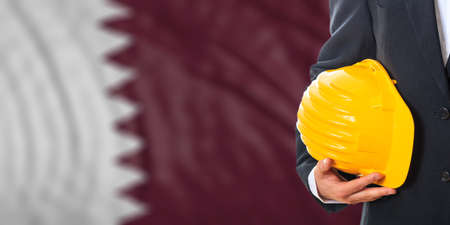 waiving: Engineer on a waiving Qatar flag background. 3d illustration
