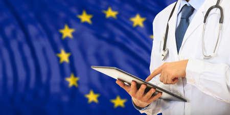 Doctor on flag of European Union background. 3d illustration Stock Photo