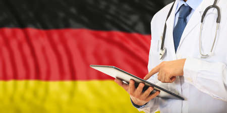 Doctor on flag of Germany background. 3d illustration Stock Photo