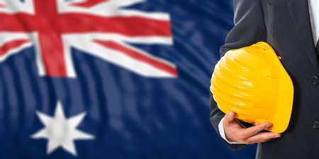 waiving: Engineer on a waiving Australia flag background. 3d illustration Stock Photo