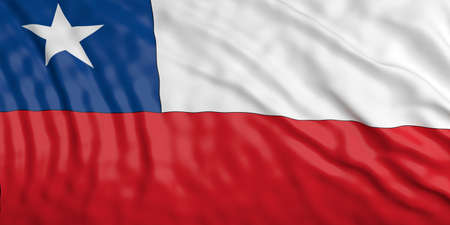 waiving: Waiving in the wind flag of Chile. 3d illustration