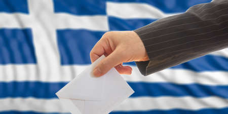 Voter on waiving Greece flag background. 3d illustration Stock Photo
