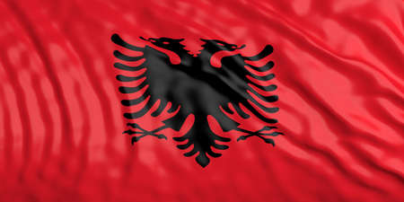 waiving: Waiving in the wind flag of Albania. 3d illustration