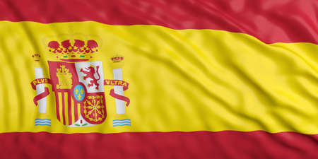waiving: Waiving in the wind flag of Spain. 3d illustration