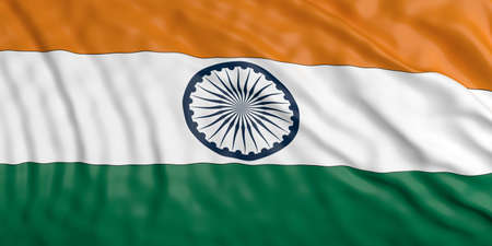 waiving: Waiving in the wind flag of India. 3d illustration