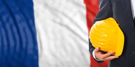 Engineer on a waiving France flag background. 3d illustration