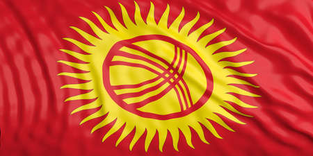 waiving: Waiving in the wind flag of Kyrgyzstan. 3d illustration