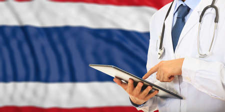 Doctor on flag of Thailand background. 3d illustration