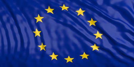 waiving: Waiving in the wind flag of European Union. 3d illustration Stock Photo