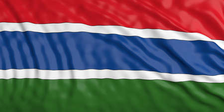 waiving: Waiving in the wind flag of Gambia. 3d illustration Stock Photo