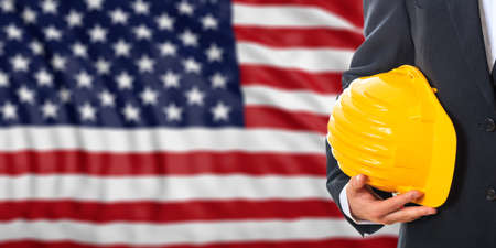 waiving: Engineer on a waiving United States of America flag background. 3d illustration