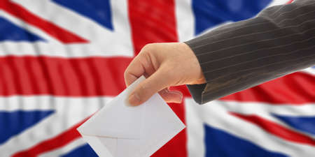 Voter on waiving Great Britain flag background. 3d illustration