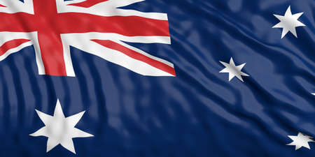 waiving: Waiving in the wind flag of Australia. 3d illustration