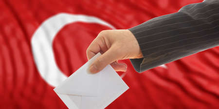 Voter on waiving Turkey flag background. 3d illustration Stock Photo