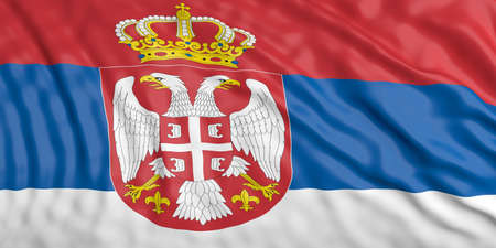 waiving: Waiving in the wind flag of Serbia. 3d illustration