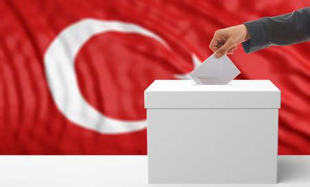 waiving: Voter on an waiving Turkey flag background. 3d illustration