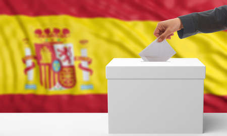 waiving: Voter on an waiving Spain flag background. 3d illustration