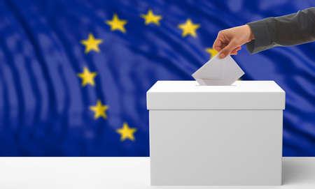 Voter on an waiving European Union flag background. 3d illustration 免版税图像 - 73209730