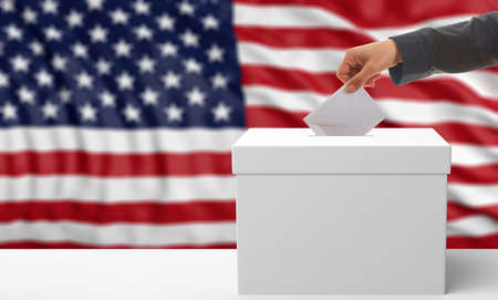 Voter on an waiving United States of America flag background. 3d illustration